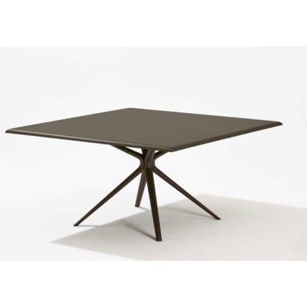 """Fast Gartentisch """"Moai"""", Gestell und Tischplatte Aluminium dunkelbraun, 140x140 cm"""