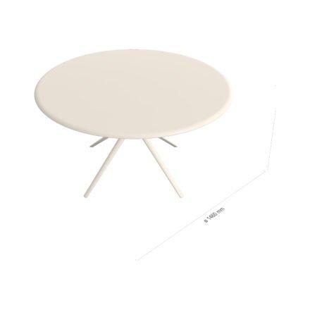 """Fast Gartentisch """"Moai"""" rund, Gestell und Tischplatte Aluminium cremeweiß, Ø146 cm"""
