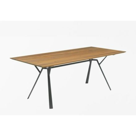 "Fast Gartentisch ""Radice Quadra"", Gestell Aluminium metallgrau, Tischplatte Teakholz, 200x90 cm"