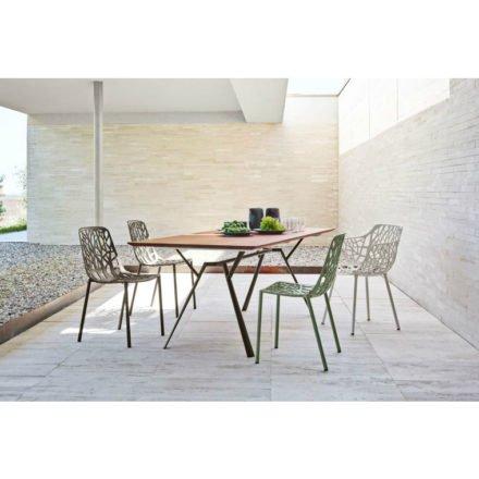 """Fast Gartentisch """"Radice Quadra"""", Gestell Aluminium, Tischplatte Teakholz, 200x90 cm, Stuhl und Sessel """"Forest"""""""