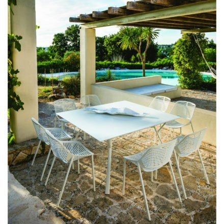 """Fast Gartentisch """"Radice Quadra"""", Gestell und Tischplatte Aluminium weiß"""