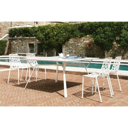 """Fast Gartentisch """"Radice Quadra"""", Gestell und Tischplatte Aluminium weiß, Gartenstuhl """"Forest"""""""