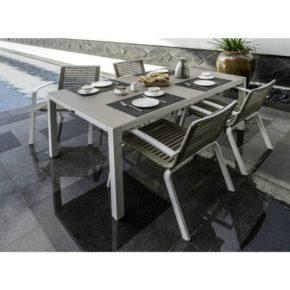 """Home Islands Gartenmöbel-Set – 4 Stühle """"Malaki"""" und Tisch """"Naoki"""", Gestell Alu weiß, Sitzfläche Seilgeflecht (Rope), Tischplatte Glas Cappuccino Foggy"""