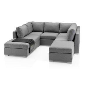 """Kettler Loungegruppe """"Lavi"""" mit Tablett, Gestell Aluminium, Sitzpolster grau meliert"""