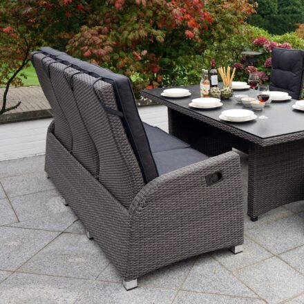 """Ploß Speise-/Loungesofa 3-Sitzer """"Rocking Comfort"""", Polyrattangeflecht doppel-halbrund grau-braun meliert inkl. Sitz- und Rückenpolster anthrazit, Diningtisch """"Rocking"""""""