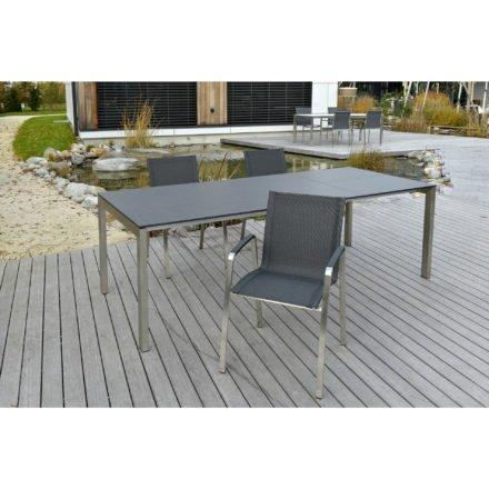 """SIT Mobilia Gartentisch """"Ventura"""", Gestell Edelstahl, Tischplatte HPL Dark Grey mit 70 cm Klappeinlage, Stuhl """"Tinto"""""""