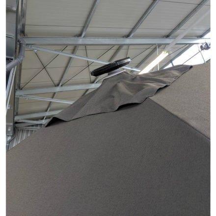 """Tierra Outdoor, LED Solarpaneel beim Sonnenschirm """"Duraflex LED"""", Gestell Aluminium weiß, eckig 300x300 cm, Dessin darkgrey"""