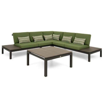 """Applebee """"Pebble Beach"""" Loungeset mit Seitenteil links und rechts plus Corner Chair/Eckteil sowie Tisch, Gestell Alu schwarz, Polster Olive, Dekokissen Forest Breeze, Ablagen LWC (Leichtbeton)"""