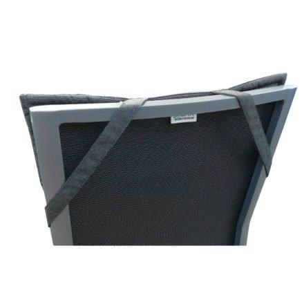 """GartenKultur Auflage für Stern Stapelsessel """"New Top"""", Sunbrella® charcoal, Detail Haltebänder"""