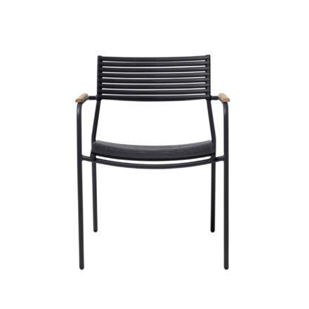 """Cinas Gartenstuhl """"Mood Air"""", Gestell Aluminium anthrazit, Sitz- und Rückenfläche Kunststoff Lamellen schwarz, Armlehnen Teakholz"""
