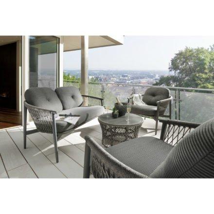 """SIT Mobilia Loungeserie """"Caracas"""", Gestell Aluminium eisengrau, Bespannung Rope Grey Lacak, Kissen Balian Graphite"""