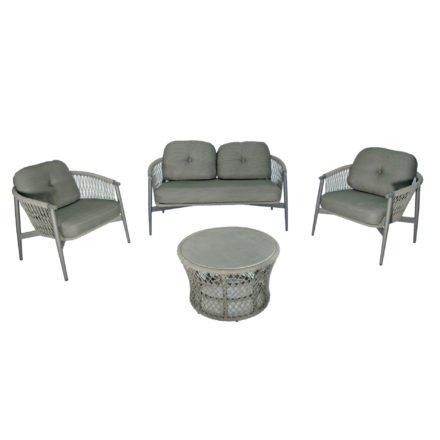 "SIT Mobilia Loungeset ""Caracas"", Gestell Aluminium eisengrau, Bespannung Rope Grey Lacak, Kissen Balian Graphite, Tischplatte Keramik"