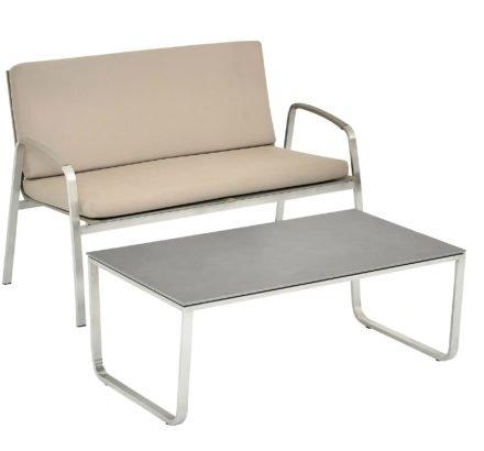 """SIT Mobilia Loungesofa """"Santa Fe"""", Gestell Edelstahl, Sitzfläche Leisuretex taupe, Kissen Sunbrella® taupe, Tisch mit Keramikplatte"""