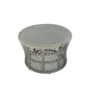 "SIT Mobilia Loungetisch ""Caracas"", Gestell Aluminium eisengrau, Bespannung Rope Grey Lacak, Tischplatte Keramik"