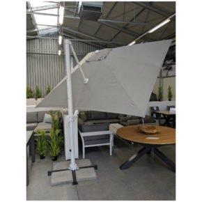 """Tierra Outdoor, Sonnenschirm """"Duramax"""", Gestell Aluminium weiß, eckig 300x300 cm, Dessin lightgrey"""