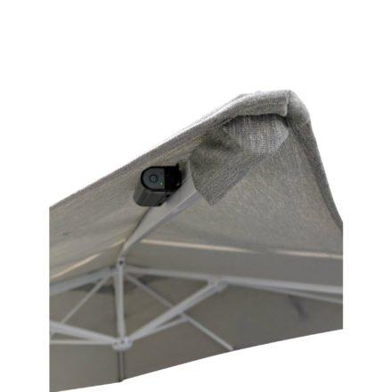 "Tierra Outdoor, Sonnenschirm ""Duramax LED"", Gestell Aluminium weiß, eckig 300x300 cm, Dessin lightgrey"