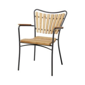 "Cinas Stapelstuhl ""Ellen"", Gestell Aluminium anthrazit, Sitz-,Rückenfläche und Armlehnen Teakholz"