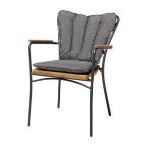 "Cinas Stapelstuhl ""Ellen"", Gestell Aluminium anthrazit, Sitz-,Rückenfläche und Armlehnen Teakholz, Sitzkissen grau"