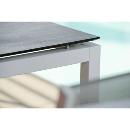 Stern Tischgestell Aluminium weiß, Tischplatte HPL