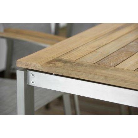 Stern Tischplatte Old Teak auf Edelstahl Vierkantgestell