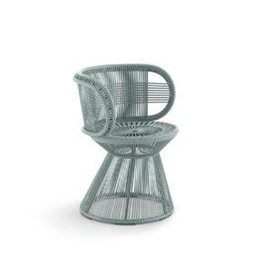 "DEDON Armlehnstuhl ""CIRQL"" mit Standfuß, Aluminiumgestell, DEDON Faser bluestone"