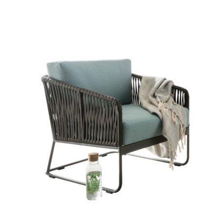 "SIT Mobilia Loungesessel ""Carvallo"", Gestell Aluminium eisengrau, Bespannung Flatrope Java braun, Kissen Southend Sea Green, Tischplatte Keramik"