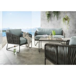 "SIT Mobilia Loungeset ""Carvallo"", Gestell Aluminium eisengrau, Bespannung Flatrope braun, Kissen Southend Sea Green, Tischplatte Keramik"