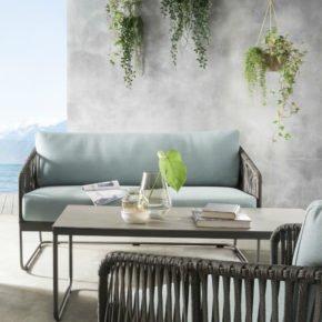"""SIT Mobilia Loungesofa """"Carvallo"""", Gestell Aluminium eisengrau, Bespannung Flatrope braun, Kissen Southend Sea Green"""