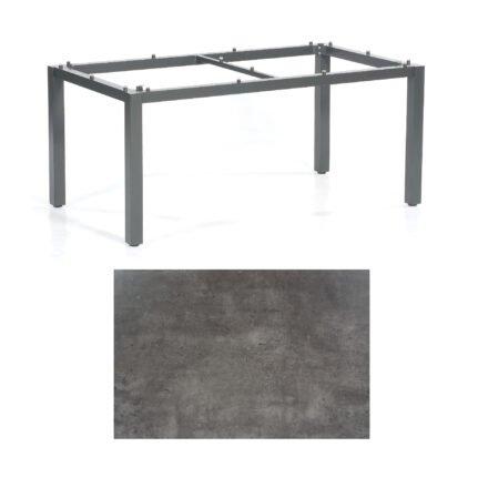 "SonnenPartner Tisch ""Base"", Gestell Aluminium anthrazit, Tischplatte HPL Beton dunkel, 160x90 cm"