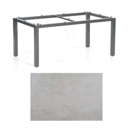 "SonnenPartner Tisch ""Base"", Gestell Aluminium anthrazit, Tischplatte HPL Beton hell, 160x90 cm"