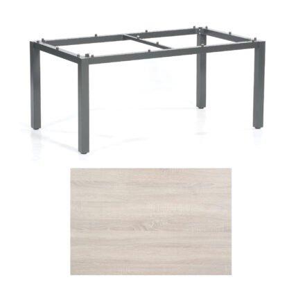 "SonnenPartner Tisch ""Base"", Gestell Aluminium anthrazit, Tischplatte HPL Eiche sägerau, 160x90 cm"