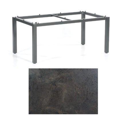 "SonnenPartner Tisch ""Base"", Gestell Aluminium anthrazit, Tischplatte HPL Keramikoptik, 160x90 cm"
