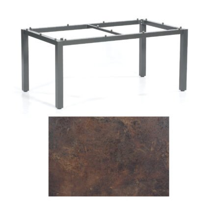 """SonnenPartner Tisch """"Base"""", Gestell Aluminium anthrazit, Tischplatte HPL Rostoptik, 160x90 cm"""