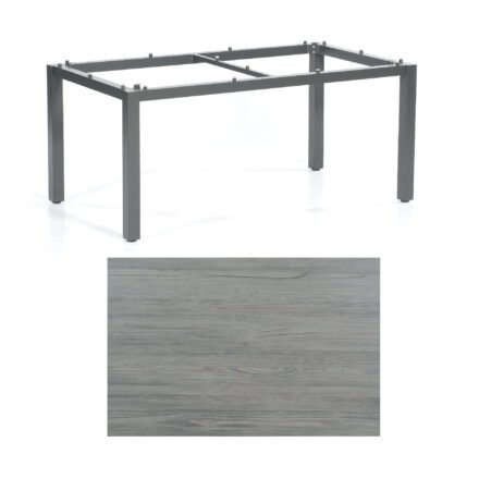 """SonnenPartner Tisch """"Base"""", Gestell Aluminium anthrazit, Tischplatte HPL Vintageoptik, 160x90 cm"""