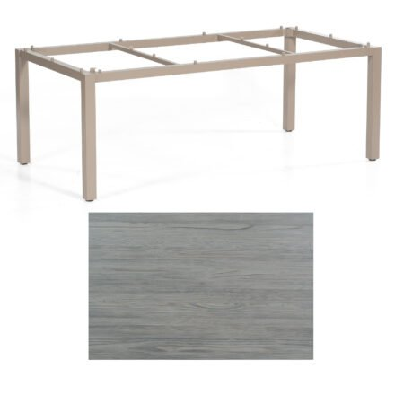"SonnenPartner Tisch ""Base"", Gestell Aluminium champagner, Tischplatte HPL Vintageoptik, 200x100 cm"