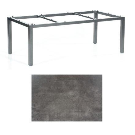 "SonnenPartner Tisch ""Base"", Gestell Aluminium anthrazit, Tischplatte HPL Beton dunkel, 200x100 cm"