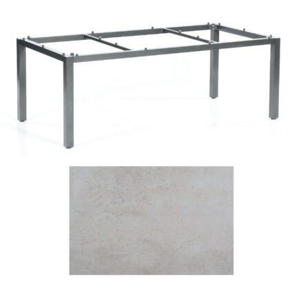 "SonnenPartner Tisch ""Base"", Gestell Aluminium anthrazit, Tischplatte HPL Beton hell, 200x100 cm"