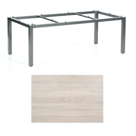 "SonnenPartner Tisch ""Base"", Gestell Aluminium anthrazit, Tischplatte HPL Eiche sägerau, 200x100 cm"