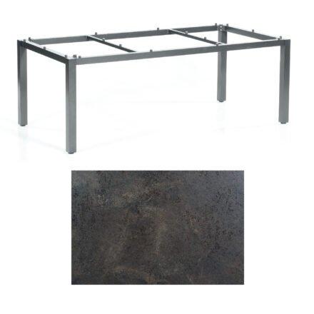 "SonnenPartner Tisch ""Base"", Gestell Aluminium anthrazit, Tischplatte HPL Keramikoptik, 200x100 cm"