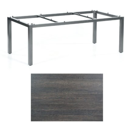 "SonnenPartner Tisch ""Base"", Gestell Aluminium anthrazit, Tischplatte HPL Mali wenge, 200x100 cm"