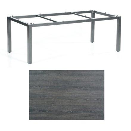 """SonnenPartner Tisch """"Base"""", Gestell Aluminium anthrazit, Tischplatte HPL Pinie dunkel, 200x100 cm"""