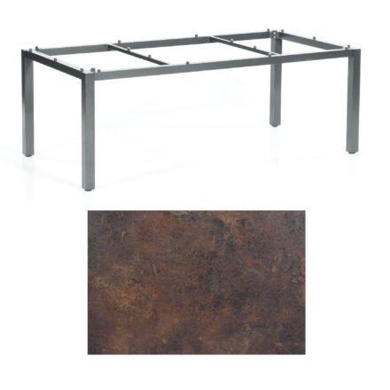 """SonnenPartner Tisch """"Base"""", Gestell Aluminium anthrazit, Tischplatte HPL Rostoptik, 200x100 cm"""