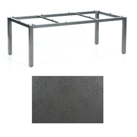 "SonnenPartner Tisch ""Base"", Gestell Aluminium anthrazit, Tischplatte HPL Struktura anthrazit, 200x100 cm"