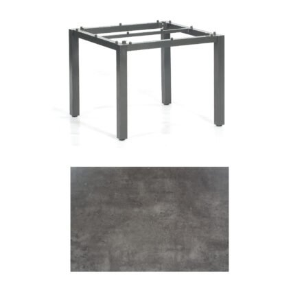 "SonnenPartner Tisch ""Base"", Gestell Aluminium anthrazit, Tischplatte HPL Beton dunkel, 90x90 cm"