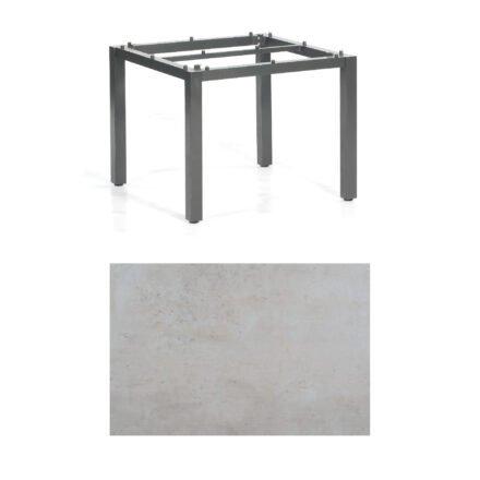 "SonnenPartner Tisch ""Base"", Gestell Aluminium anthrazit, Tischplatte HPL Beton hell, 90x90 cm"