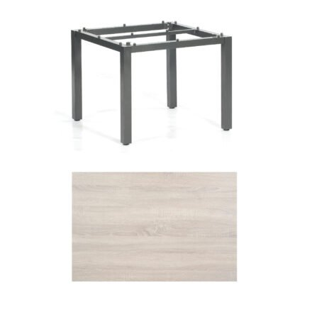 "SonnenPartner Tisch ""Base"", Gestell Aluminium anthrazit, Tischplatte HPL Eiche sägerau, 90x90 cm"