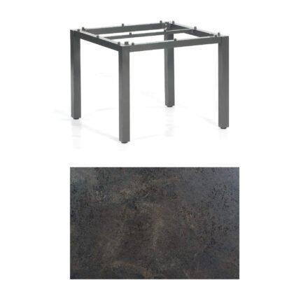 "SonnenPartner Tisch ""Base"", Gestell Aluminium anthrazit, Tischplatte HPL Keramikoptik, 90x90 cm"
