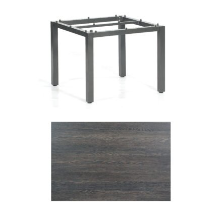 "SonnenPartner Tisch ""Base"", Gestell Aluminium anthrazit, Tischplatte HPL Mali wenge, 90x90 cm"