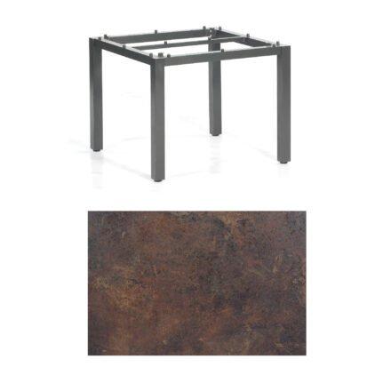 """SonnenPartner Tisch """"Base"""", Gestell Aluminium anthrazit, Tischplatte HPL Rostoptik, 90x90 cm"""