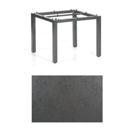 "SonnenPartner Tisch ""Base"", Gestell Aluminium anthrazit, Tischplatte HPL Struktura anthrazit, 90x90 cm"